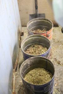 竹100%/50%/25%の混焼用チップを準備